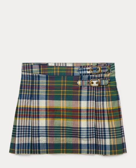 Pleated Madras Skirt