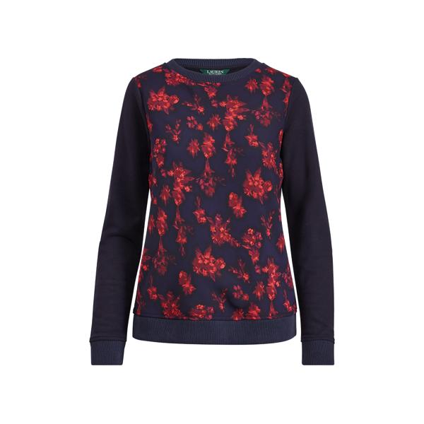 Ralph Lauren Georgette-Front Sweatshirt Splash Floral S