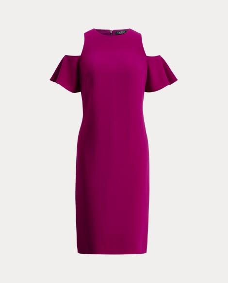 Crepe Cold-Shoulder Dress
