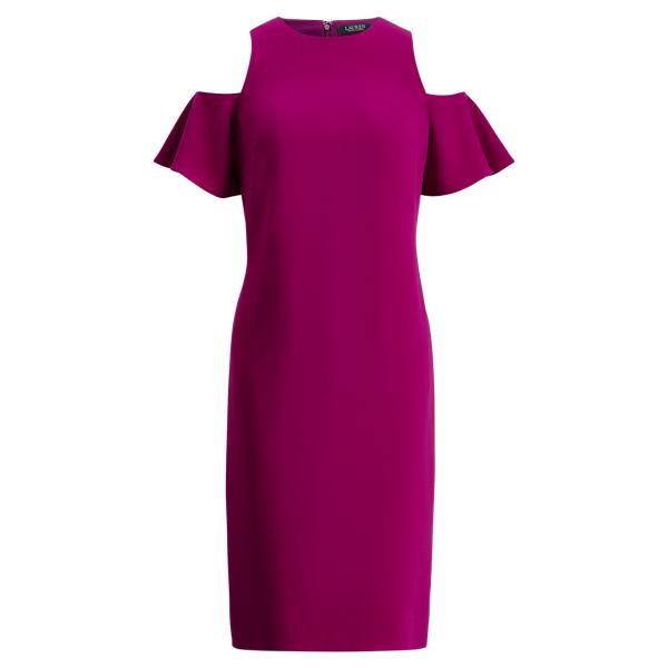 Ralph Lauren Crepe Cold-Shoulder Dress Berry Jam 14