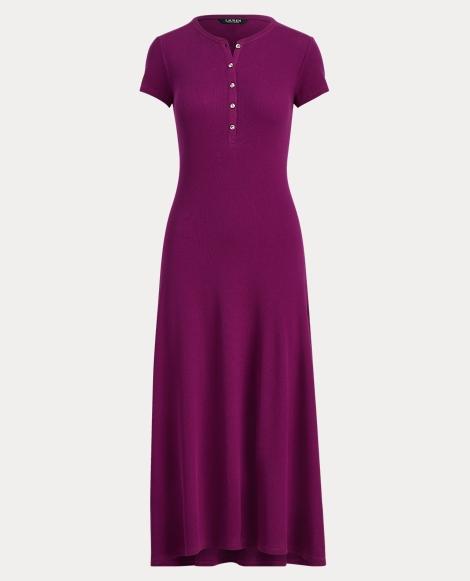 Waffle-Knit Henley Dress