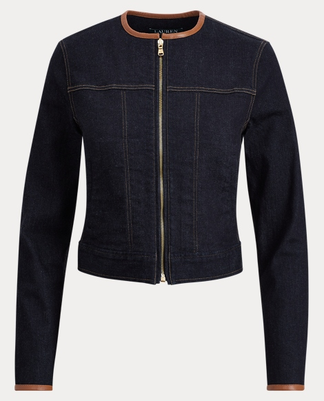 Leather-Trim Trucker Jacket