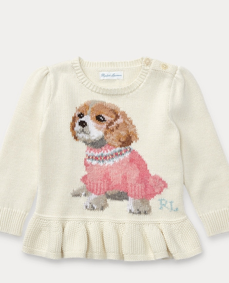 Puppy Peplum Cotton Sweater