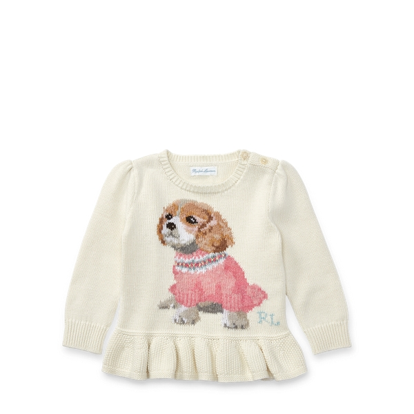 Ralph Lauren Puppy Peplum Cotton Sweater Warm White 18M