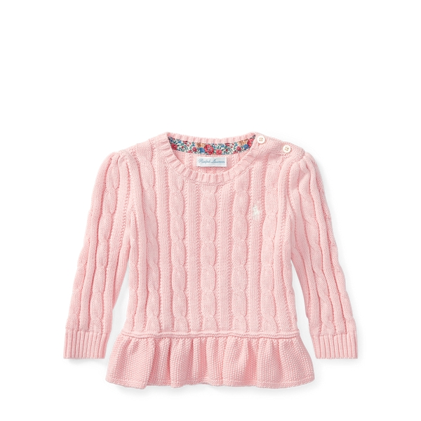 Ralph Lauren Cable-Knit Peplum Sweater Powder Pink 3M