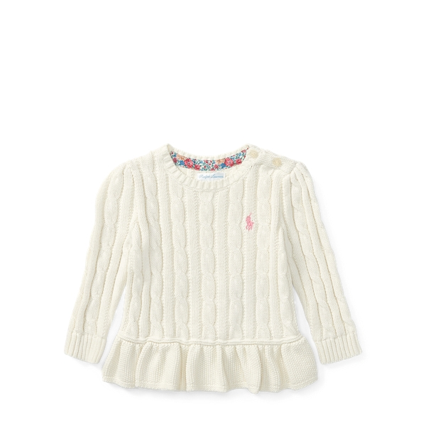 Ralph Lauren Cable-Knit Peplum Sweater Warm White 3M
