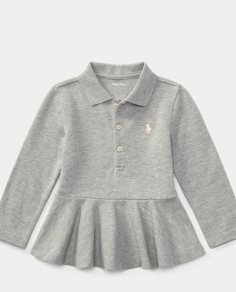 Long-Sleeve Peplum Polo