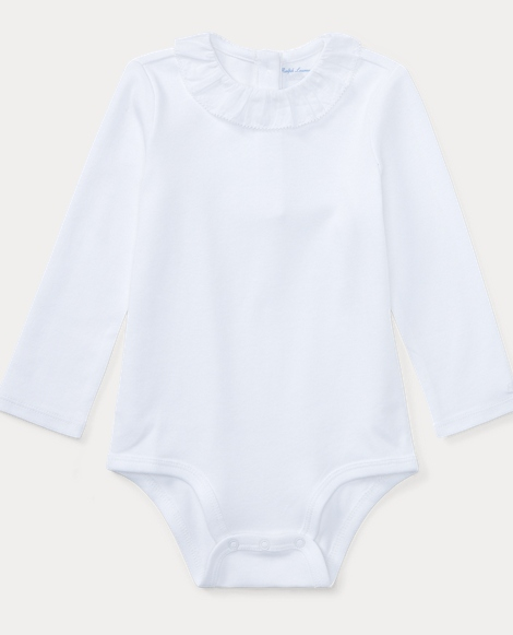 Ruffled-Collar Cotton Bodysuit