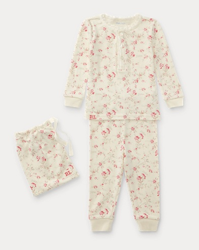 Floral Toile Cotton Pajama Set