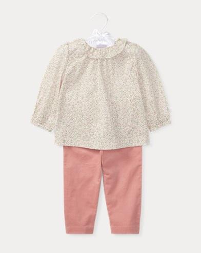 Floral Top & Corduroy Pant Set