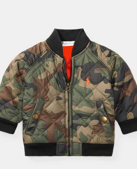 Camo Quilted Baseball Jacket