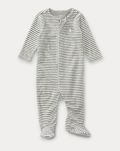 Striped Velour Footed Coverall