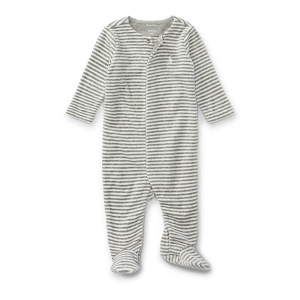 Ralph Lauren Striped Velour Footed Coverall Stonehedge Heather Multi Newborn
