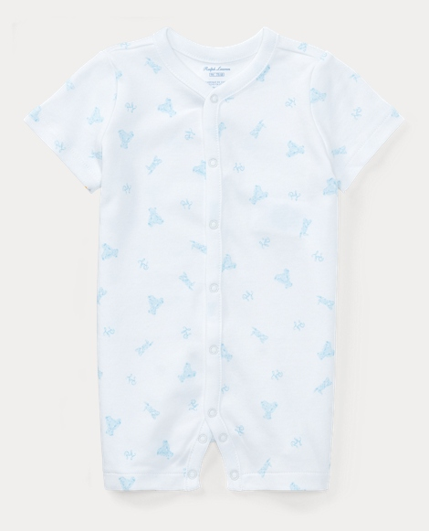 Bear-Print Cotton Shortall