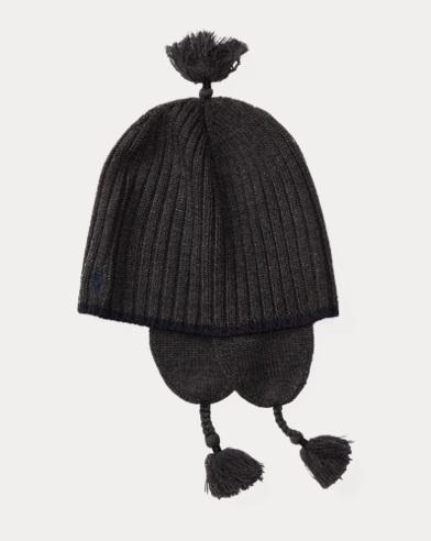 Ribbed Merino Wool Earflap Hat