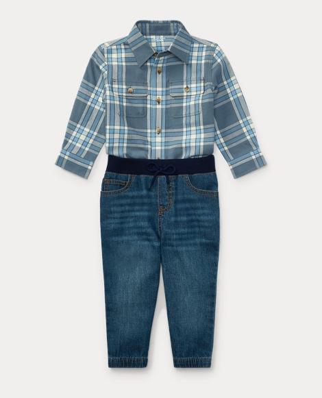 Plaid Shirt & Denim Jogger Set