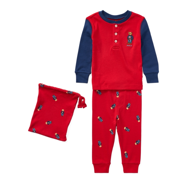 Ralph Lauren Polo Bear Cotton Pajama Set Martin Red 24M