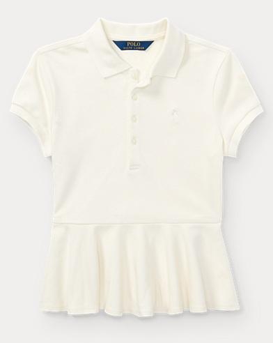 Cotton Peplum Polo Shirt