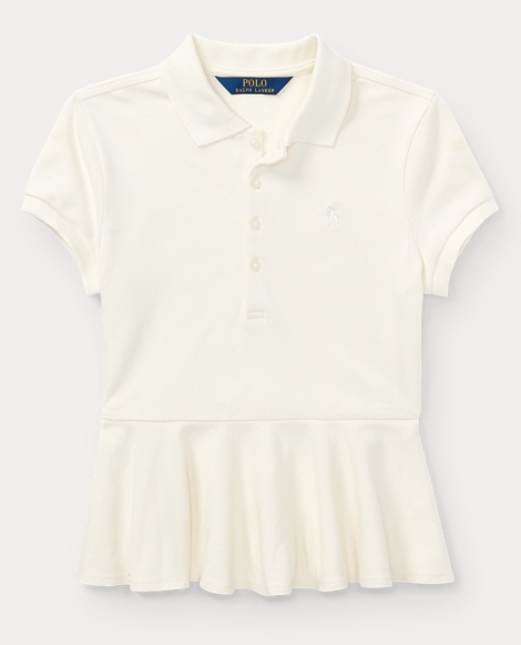Cotton Peplum Polo Shirt