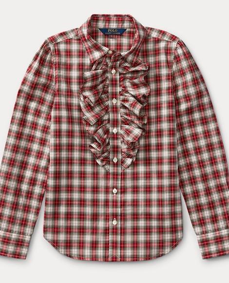 Plaid Ruffle-Front Shirt