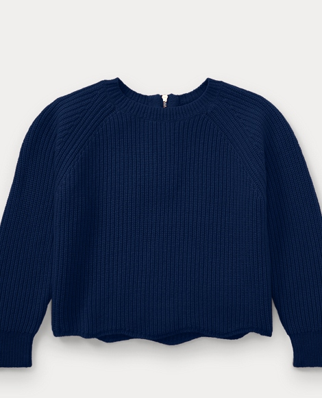 Scallop-Hem Wool-Blend Sweater