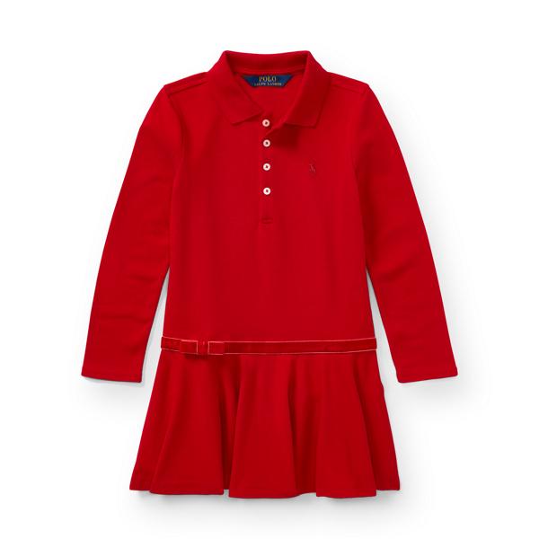 Ralph Lauren Stretch Cotton Polo Dress Park Ave Red 2T