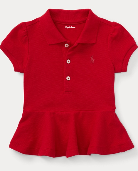 Stretch Mesh Peplum Polo Shirt