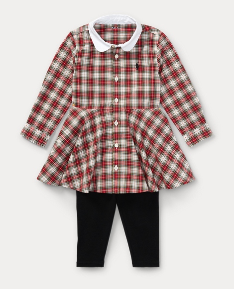 Plaid Shirtdress & Legging Set