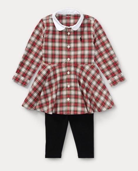 Plaid Shirtdress & Legging Set