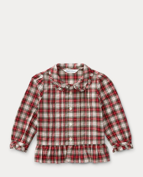Plaid Cotton Peplum Shirt
