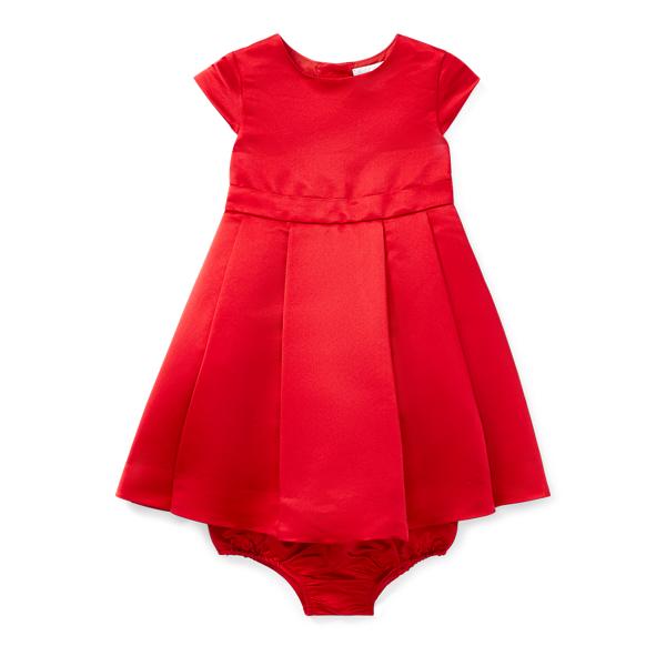 Ralph Lauren Pleated Satin Dress & Bloomer Rl2000 Red 6M