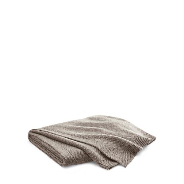 Ralph Lauren Camden Wool Throw Blanket Dark Taupe 54