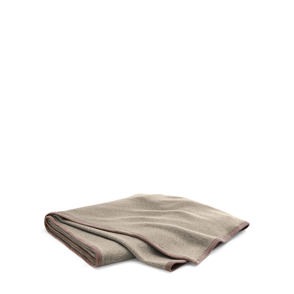 Ralph Lauren Lane Suede-Trim Throw Blanket Oatmeal 54