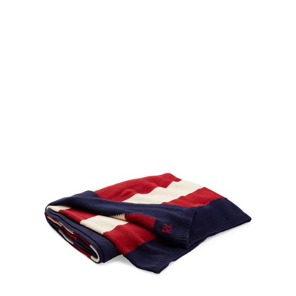 Ralph Lauren Rl Flag Cotton Throw Blanket Multi 54