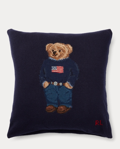 Polo Bear Wool Throw Pillow