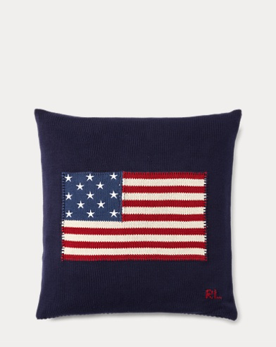 RL Flag Cotton Throw Pillow