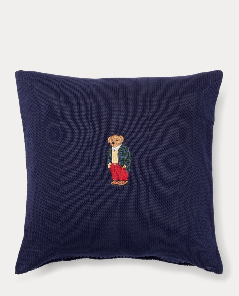 Tartan Bear Knit Throw Pillow