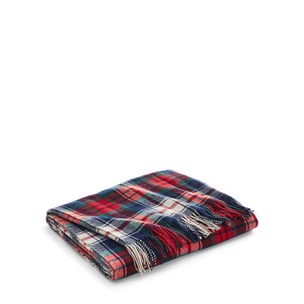 Ralph Lauren Hadwin Wool Throw Blanket Navy / Red Multi 50