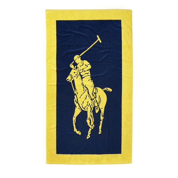 Ralph Lauren Signature Pony Beach Towel Yellow/Navy 40