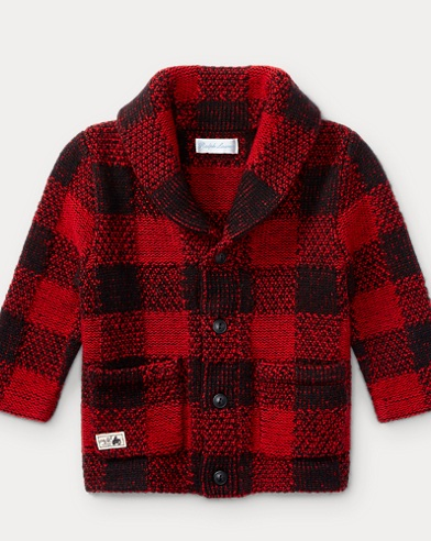 Plaid Wool-Blend Cardigan