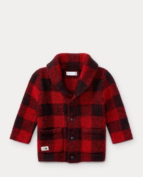 Plaid Wool-Blend Cardigan