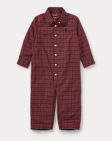 Plaid Cotton Poplin Coverall