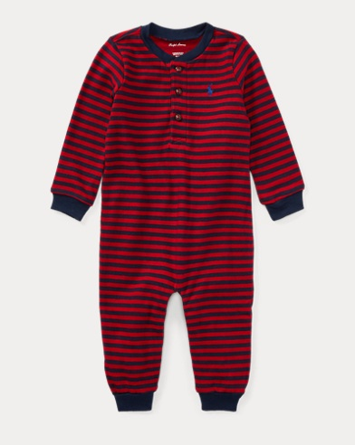 Striped Cotton Jersey Coverall