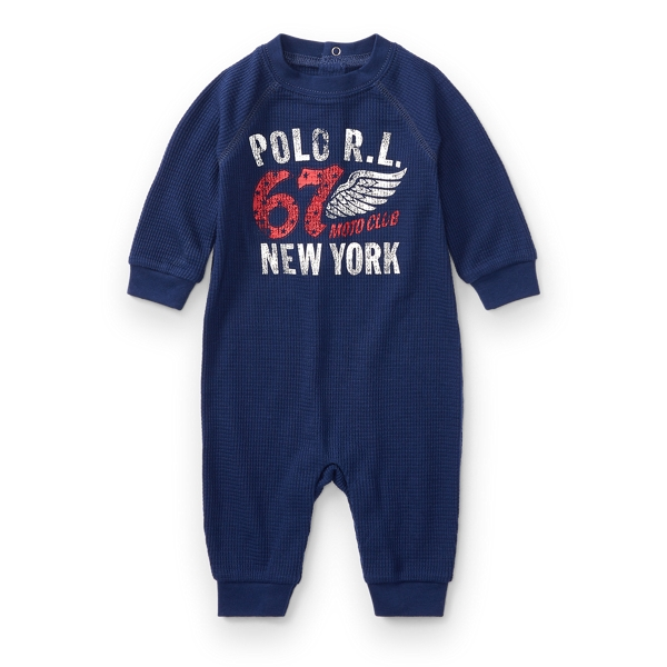 Ralph Lauren Waffle - Knit Graphic Coverall Holiday Navy Newborn