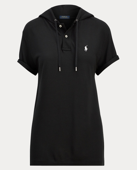 Drapey Mesh Hooded Polo Shirt