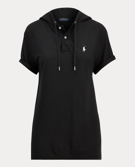 Drapey Mesh Hooded Polo Shirt