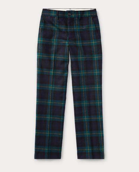 Slim Tartan Wool Twill Pant