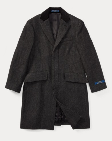 Velvet-Trim Merino Wool Coat
