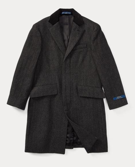 Velvet-Trim Merino Wool Coat