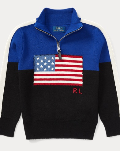 Flag Merino Half-Zip Sweater